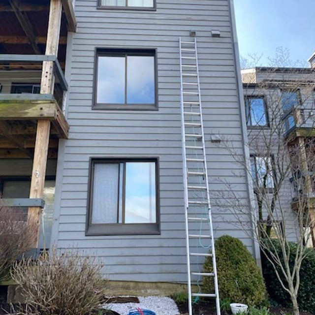 Ladder leaning against house